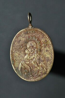 Ancient icon-pendant Mother of God  Metal detector finds 100%original