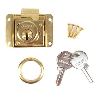 BRASS DESK LOCK 2 KEYS Home Office Cabinet Cupboard Drawer Door Fastener Catch
