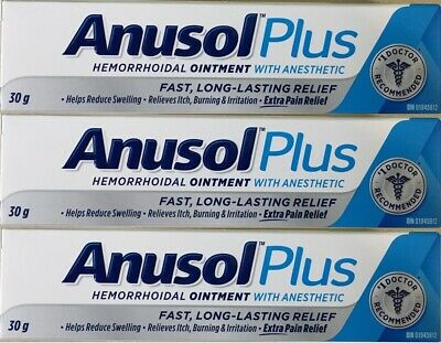 3 x 30 g tube ANUSOL PLUS Hemorrhoidal Ointment Treatment Extra Pain Relief