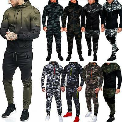 Men Tracksuit Set Fleece Zip Hoodie Tops Bottoms Gym Trackies Jogging Sportswear