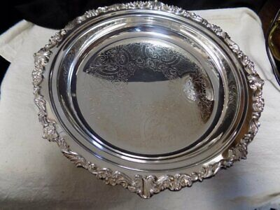 """Vintage Silver Plated Shallow Dish~Ornate, Footed~12""""~Sheridan~"""
