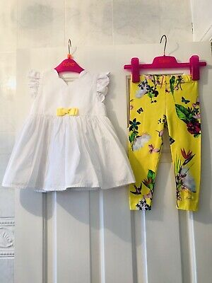 Ted baker Baby Girl White Top & Yellow Floral Leggings Set 18-24 Months