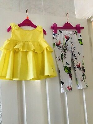 Ted baker Baby Girl Yellow Top & White Floral Leggings Set 18-24 Months