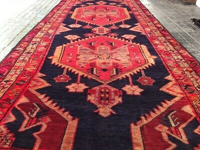 Massive handknotted vintage karabagh caucasian wool carpet Size:11x4 feet# 249A