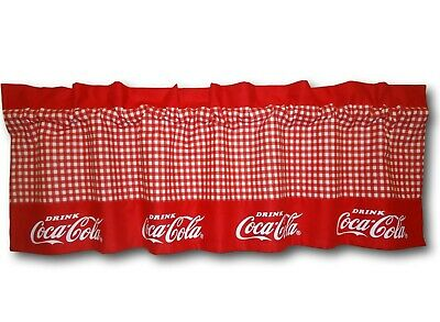 Custom Coca Cola Coke Red Fabric Blackout Valance 14x42 Retro Curtain Gingham
