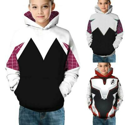 Kids Boys Girls Children 3D Printed Hooded Coat Sweatshirt Pullover Jumper Tops