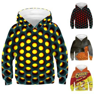 Kids Boy Girls Novelty Creative 3D Print Hooded Sweatshirt Sports Sweater Tops