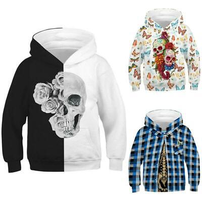 Boys Girls Skeleton 3D Printed Novelty Creative Hoodies Pullover Sweatshirt Tops