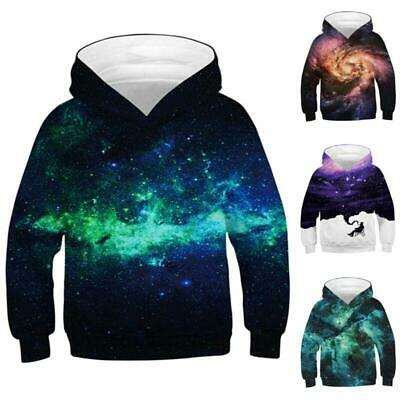 Kids Boys Girls Hooded Galaxy Printed Sweatshirt Jacket Jumper 3D Pullover Coat