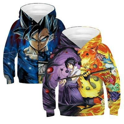 Kids Boys Girls 3D Print Anime Cartoon Novelty Hooded Coat Sweatshirt Gym Sports