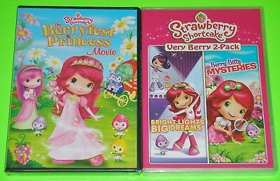 Kid DVD Lot - Strawberry Shortcake Berryfest Princess Bright Lights & Mysteries