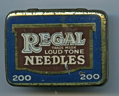 1920'S English Regal Gramophone 200 Needle Tin With Contents Fair Condition