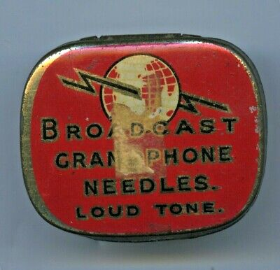 1920'S Broadcast Gramophone Needle Tin With Contents Loud Tone Good Condition