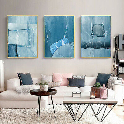 Nordic Abstract Color Line Blue Wall Art Canvas Painting Poster