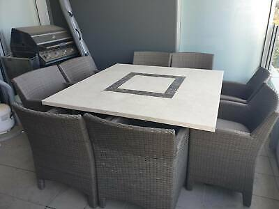 Wicker Outdoor Square 8 Seater Stone Dining Table Chairs Furniture Set