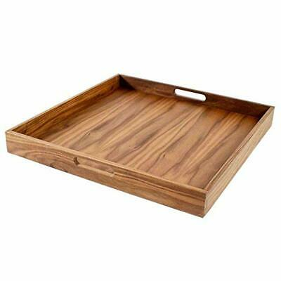 Walnut Wood Serving Tray with Handles Serve Coffee,Tea Breakfast in Bed 20x20 S