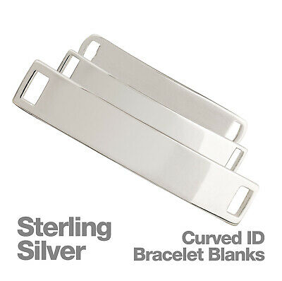 Sterling Silver Curved Identity Bracelet Stamping Blanks