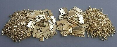 Gold Hinges Doors Furniture DIY Craft Cabinets Dolls House Fix Two Size + Screws