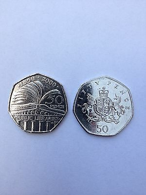 Rare fifty pence 50P coin 2013 Christopher Ironside and public library 2000 used