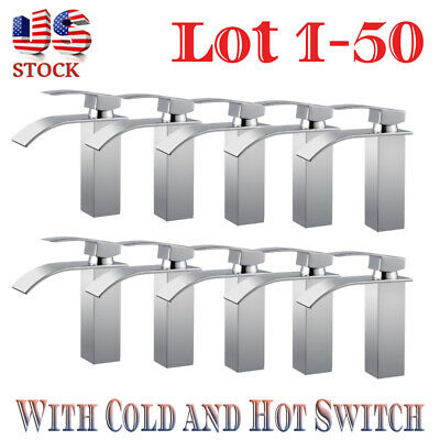 Lot 1-50 Waterfall Bathroom Faucet Single Handle/Hole Bath Sink Faucet Mixer IJ