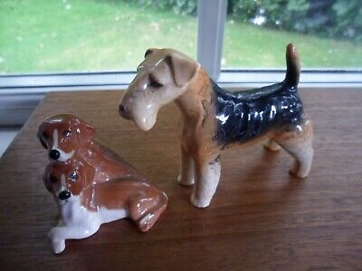Two Beswick Dog Figurines, Welsh Terrier & Beagle Puppies.perfect.