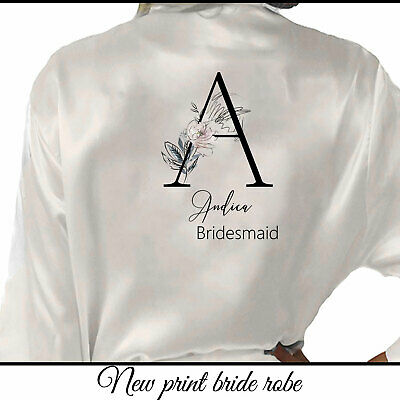 Personalised Initial & Name Bride Wedding Bridesmaid Robe Bridal Party Gown