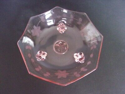 Pink Depression Glass Candy Dish on 3 Toes With Etched Flowers