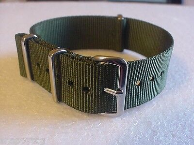 Army OD Green G10 20mm military strap band fits TIMEX Weekender watch & more