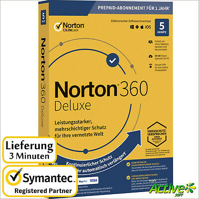 NORTON 360 Deluxe 2020 5 Geräte |PC,Mac,Android,iOS| Internet Security DE-Lizenz
