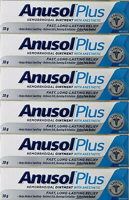 6 x 30 g tube ANUSOL PLUS Hemorrhoidal Ointment Treatment Extra Pain Relief