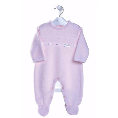Newborn Baby Girl Pink Spanish Knitted Bow Romper Suit Outfit Girls 0-3 Months
