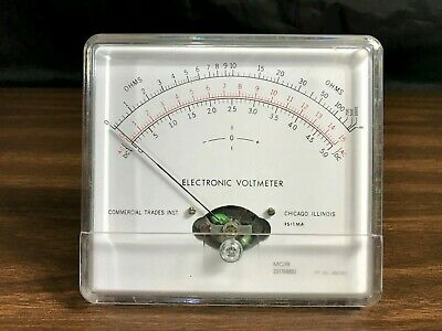 Vintage Eletronic Voltmeter Faceplate Commercail Trades Instruments Chicago