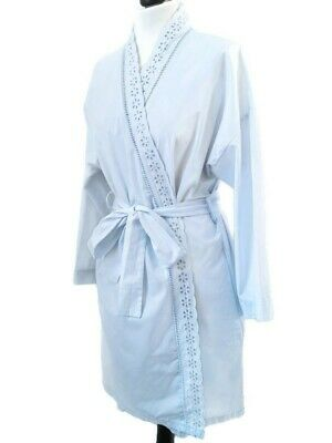 St Michael M&S Womens Baby Blue Cotton Robe Floral Cut Out Nightgown M Light Tie