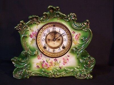 Antique ANSONIA Fine Porcelain French Mantel Clock c1881 Royal Bonn