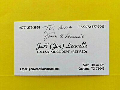 JAMES LEAVELLE > SIGNED Business card Detective Cuffed To LEE HARVEY OSWALD >JFK
