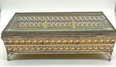 Vintage Filigree Jewelry Box with Beveled Glass Lid hollywood regency