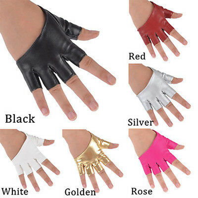 Women Personality Half Finger PU Leather Fingerless Gloves Show Pole Dance