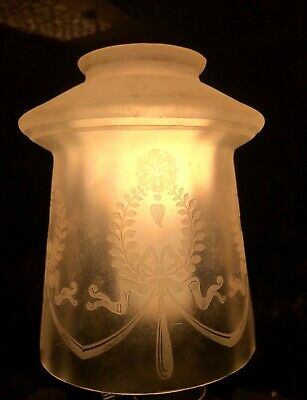 Vintage Art 1900's Etched Glass Bell-Shaped Light/Lamp Shade