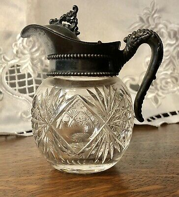 Antique Crystal Clear Cut Glass SYRUP PITCHER Hinged Lid Silverplate Excellent +