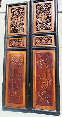 2 Antique Chinese Hand Carved Wood Decorative Wall Panels Screen 19th Century
