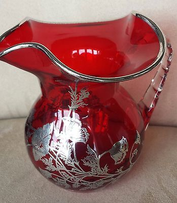 Engraved Sterling Silver Overlay Design on a Ruby Red Glass Pitcher, GORGEOUS!