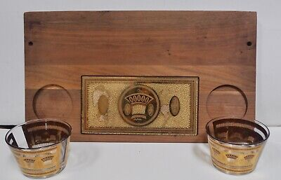 Culver Festival Gold Wheat Wooden Tray with 2 Glass Bowls & Inlaid Glass Design