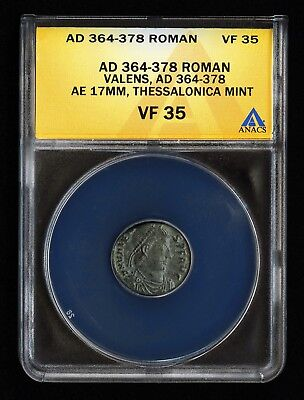 364-378 AD ROMAN VALENS AE3 17mm THESSALONICA ANCIENT COIN VERY FINE ANACS VF 35