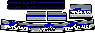 MERCRUISER MOST COMPLETE 2017 BLUE ALPHA 1 GEN.1 DECALS W//GRAY TRIMS SET