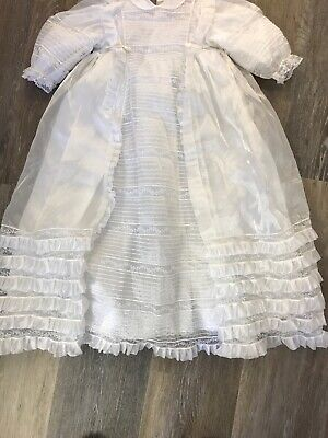 Original Traditional Antique White Vintage Christening Gown for Baby Boy Girl
