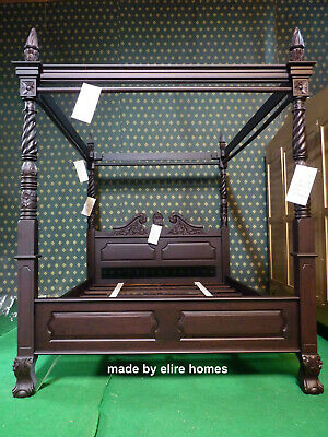 UK King 5' Dark Antique Mahogany Queen Anne style Four Poster mahogany bed
