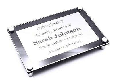 Personalised Memorial Plaque - Weatherproof Acrylic Frame and Silver Metallic In