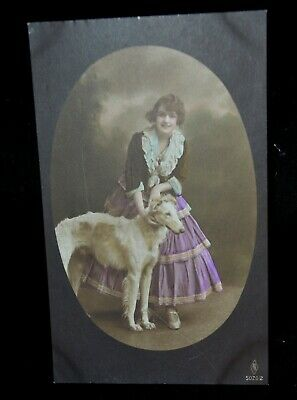 Vintage RPPC Young Lady Borzoi Russian Wolfhound PFB Card 5020/2