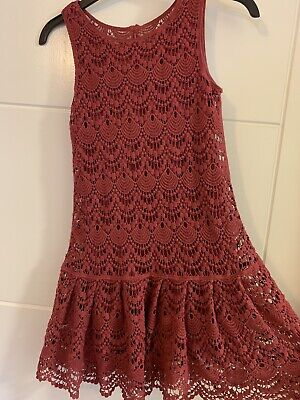 Girls M&S Pink Lace/ Crotchet Lined Dress 9-10 Years