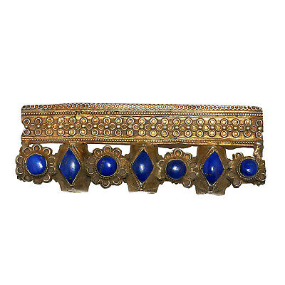 (2627)Antique silver and lapis necklace element,India or Pakistan.